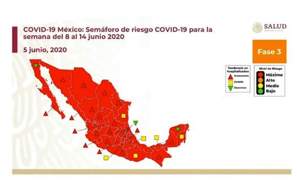 Todo México en rojo por riesgo máximo de contagio por COVID-19