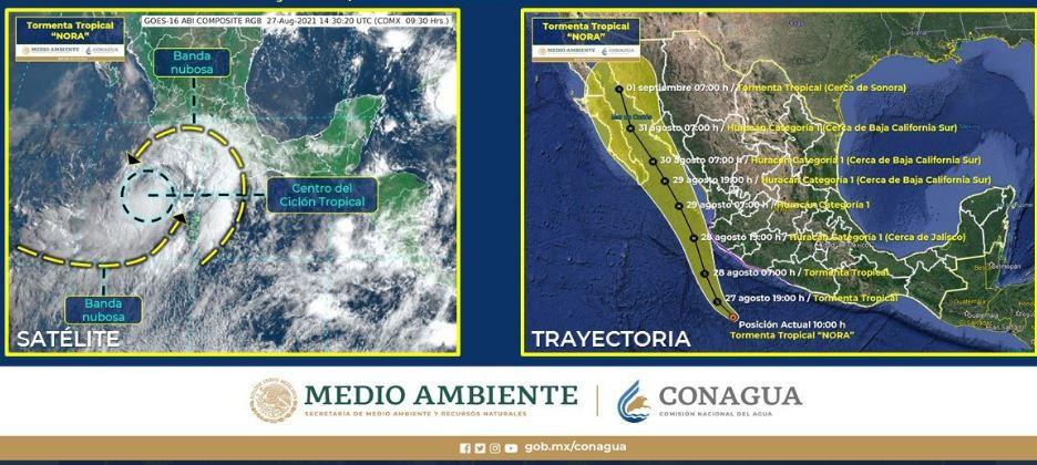 Nora se enfila hacia Sonora y habrá lluvias extremas la siguiente semana