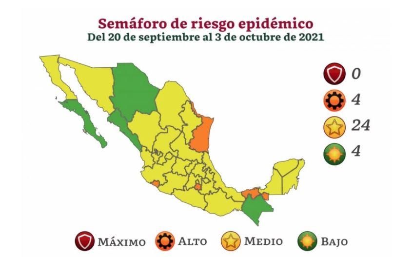 Así quedó el semáforo del 20 de septiembre al 3 de octubre: el país se pinta de amarillo