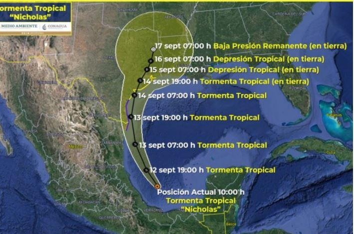 Se formó la tormenta tropical Nicholas en el Golfo de México: esta será su trayectoria
