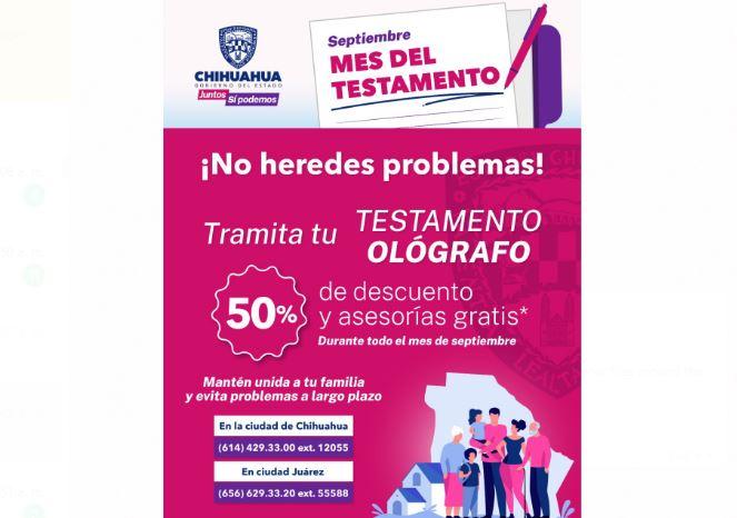Invita Gobierno del Estado a tramitar el Testamento Ológrafo con un descuento del 50%